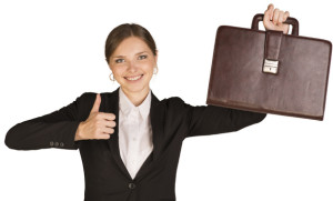Businesswoman showing thumb up and holding briefcase. Isolated on white background